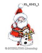 Interlitho, CHRISTMAS SANTA, SNOWMAN, WEIHNACHTSMÄNNER, SCHNEEMÄNNER, PAPÁ NOEL, MUÑECOS DE NIEVE, paintings+++++,KL6063/1,#X#