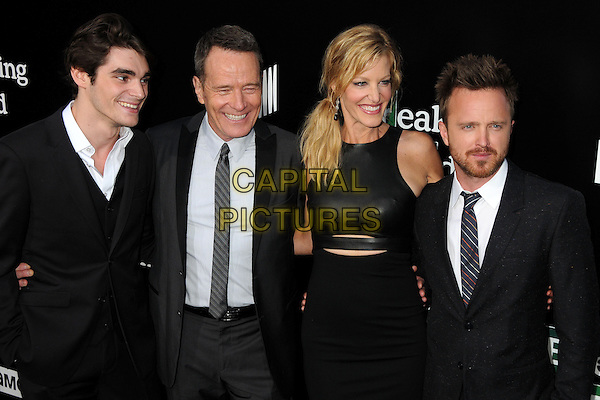 RJ Mitte, Bryan Cranston, Anna Gunn, Aaron Paul<br /> &quot;Breaking Bad&quot; Final Episodes Los Angeles Premiere Screening held at Sony Pictures Studios, Culver City, California, USA, 24th July 2013.<br /> half length black leather dress white shirt grey gray suit tie <br /> CAP/ADM/BP<br /> &copy;Byron Purvis/AdMedia/Capital Pictures