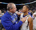 SIOUX FALLS, SD - MARCH 8: Athletic Director Justin Sell celebrates with George Marshall #11 from South Dakota State after the Jackrabbits 67-59 win over North Dakota State University in the 2016 Summit League Championship game Tuesday night at the Denny Sanford Premier Center. (Photo by Dave Eggen/Inertia)