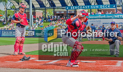 8 March 2015: Boston Red Sox catcher Blake Swihart (left) watches fellow catcher Christian Vazquez practice drills prior to a Spring Training game against the New York Mets at Tradition Field in Port St. Lucie, Florida. The Mets fell to the Red Sox 6-3 in Grapefruit League play. Mandatory Credit: Ed Wolfstein Photo *** RAW (NEF) Image File Available ***
