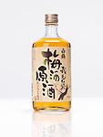 Bottle of premium Japanese White crane plum wine Umeshu sake isolated on white background
