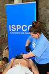 Cian Nolan getting  a bit of a waxing<br /> ISPCC Charity Leg Wax<br /> Picture:  Fran Caffrey / www.newsfile.ie