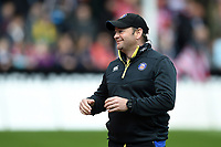 Bath Rugby first team coach Darren Edwards looks on during the pre-match warm-up. Gallagher Premiership match, between Gloucester Rugby and Bath Rugby on April 13, 2019 at Kingsholm Stadium in Gloucester, England. Photo by: Patrick Khachfe / Onside Images