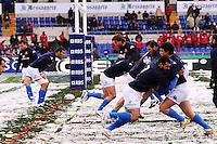 """Allenamento sul campo coperto di neve.Roma 11/20/2012 Stadio """"Olimpico"""".Rugby 6 Nations Tournament - Torneo delle 6 Nazioni 2012.Italia Vs Inghilterra - Italy Vs England .Foto Insidefoto Andrea Staccioli"""