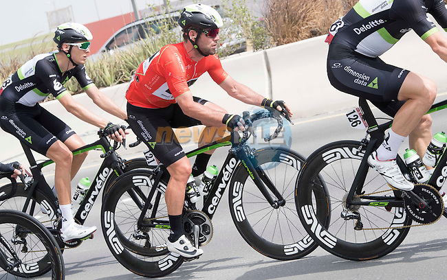 Race leader Mark Cavendish (GBR) Team Dimension Data in action during Stage 2 the Nation Towers Stage of the 2017 Abu Dhabi Tour, running 153km around the city of Abu Dhabi, Abu Dhabi. 24th February 2017<br /> Picture: ANSA/Claudio Peri | Newsfile<br /> <br /> <br /> All photos usage must carry mandatory copyright credit (&copy; Newsfile | ANSA)
