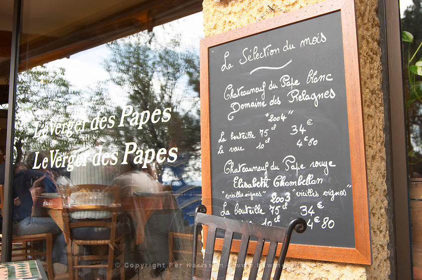 This month's selection of wines on a chalk board The restaurant Le Verger de Papes Chateauneuf-du-Pape Vaucluse, Provence, France, Europe