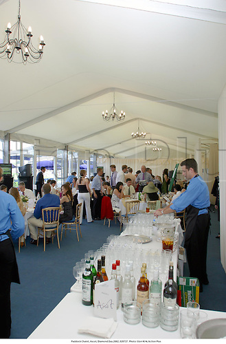 Paddock Chalet, Ascot, Diamond Day 2002, 020727. Photo: Glyn Kirk/Action Plus...Horse Racing.Hospitality corporate