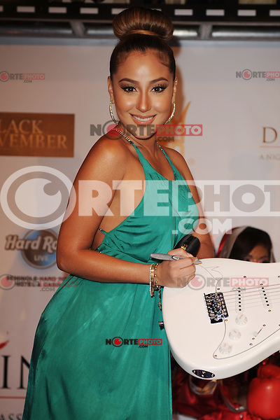 HOLLYWOOD FL - JUNE 22 : Adrienne Bailon arrives during Don King's 80th birthday celebration at Hard Rock live held at the Seminole Hard Rock Hotel & Casino on June 22, 2012 in Hollywood, Florida. © mpi04/MediaPunch Inc NORTEPHOTO.COM<br />
