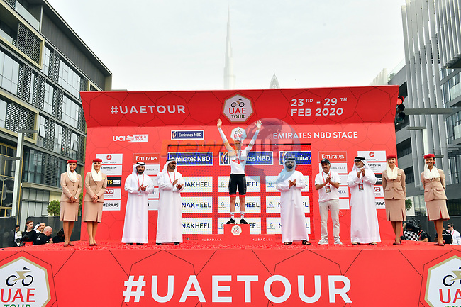 Tadej Pogacar (SLO) UAE Team Emirates retains the White Jersey at the end of Stage 4 the Emirates NBD Stage of the UAE Tour 2020 running 173km from Dubai Zabeel Park to Dubai City Walk, Dubai. 26th February 2020.<br /> Picture: LaPresse/Massimo Paolone | Cyclefile<br /> <br /> All photos usage must carry mandatory copyright credit (© Cyclefile | LaPresse/Massimo Paolone)