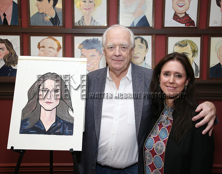 Tim Rice and Julie Taymor attends the Julie Taymor Sardi's Caricature unveiling at Sardi's Restaurant on November 3, 2017 in New York City.