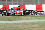 19.02.2013 Montmelo, Barcelona, Spain. Pre-seasson testing day 1. Picture show Lotus F1 Team, Kimi Raikkonen driving E21 at Circuit de Catalunya