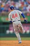 15 June 2016: Chicago Cubs first baseman Anthony Rizzo rounds the bases after hitting a home run against the Washington Nationals at Nationals Park in Washington, DC. The Cubs fell to the Nationals 5-4 in 12 innings in the rubber match of their 3-game series. Mandatory Credit: Ed Wolfstein Photo *** RAW (NEF) Image File Available ***