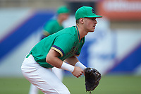 Jake Shepski (0) of the Notre Dame Fighting Irish on defense against the Florida State Seminoles in Game Four of the 2017 ACC Baseball Championship at Louisville Slugger Field on May 24, 2017 in Louisville, Kentucky. The Seminoles walked-off the Fighting Irish 5-3 in 12 innings. (Brian Westerholt/Four Seam Images)