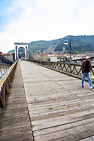 The M Seguin pedestrian bridge across the river Rhone between the twin cities Tain l'Hermitage and Tournon. Tain l'Hermitage, Drome, Drôme, France, Europe
