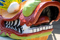 Snout of dragon from racing boat at staging area. Dragon Festival Lake Phalen Park St Paul Minnesota USA