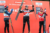 7th January 2018, Val di Fiemme, Fiemme Valley, Italy; FIS Cross Country World Cup, Tour de ski; Mens 9km F Pursuit; Martin Johnsrud Sundby (NOR), Dario Cologna (SUI), Alex Harvey (CAN) celebrate on the podium