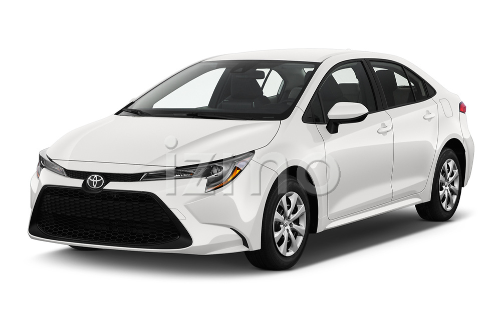 2020 Toyota Corolla LE 4 Door Sedan Angular Front stock photos of front three quarter view