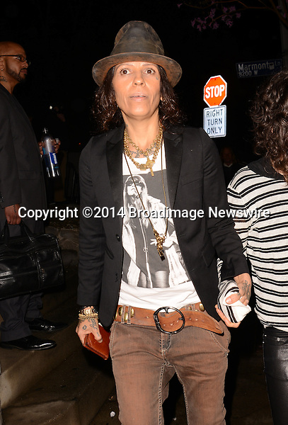 Pictured: Linda Perry<br /> Mandatory Credit: Luiz Martinez / Broadimage<br /> Annie Leibovitz Book Launch - Outside Arrivals<br /> <br /> 2/26/14, West Hollywood, California, United States of America<br /> Reference: 022614_LMLA_BDG_102<br /> <br /> sales@broadimage.com<br /> Bus: (310) 301-1027<br /> Fax: (646) 827-9134<br /> http://www.broadimage.com