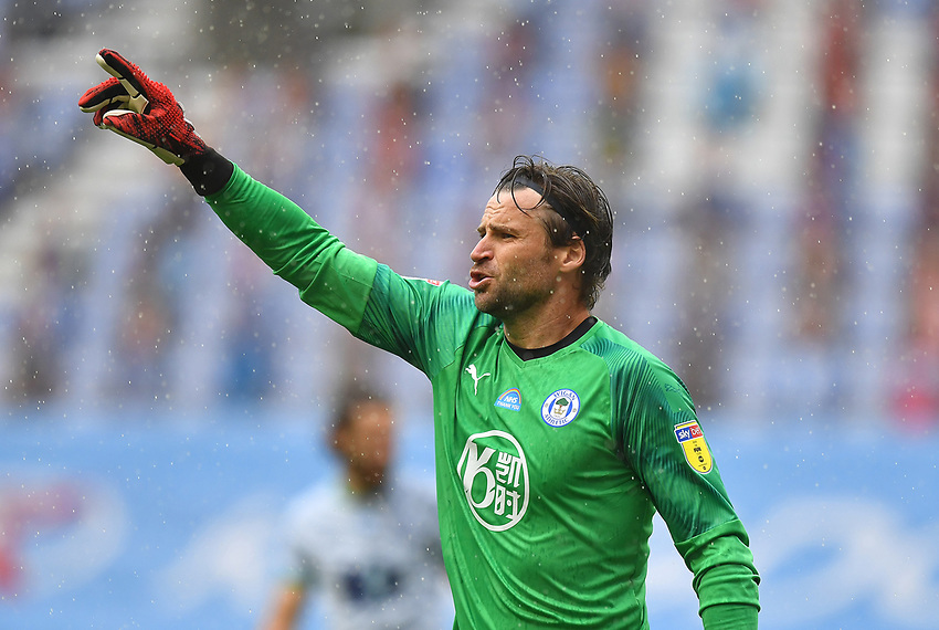Wigan Athletic's David Marshall<br /> <br /> Photographer Dave Howarth/CameraSport<br /> <br /> The EFL Sky Bet Championship - Wigan Athletic v Blackburn Rovers - Saturday 27th June 2020 - DW Stadium - Wigan<br /> <br /> World Copyright © 2020 CameraSport. All rights reserved. 43 Linden Ave. Countesthorpe. Leicester. England. LE8 5PG - Tel: +44 (0) 116 277 4147 - admin@camerasport.com - www.camerasport.com