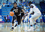 January 24, 2017:  San Diego State guard, Jeremy Hemsley #42, works against Falcon guard, Trevor Lyons 320, during the NCAA basketball game between the San Diego State Aztecs and the Air Force Academy Falcons, Clune Arena, U.S. Air Force Academy, Colorado Springs, Colorado.  Air Force defeats San Diego State 60-57.