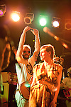 October 6, 2010. Carrboro, NC..Justin Vernon and  Cameron Mesirow, of Glasser.. Gayngs, a band made up of members of Bon Iver, Megafaun, The Rosebuds, Solid Gold and Doomtree, played at the Cat's Cradle while on their US tour.