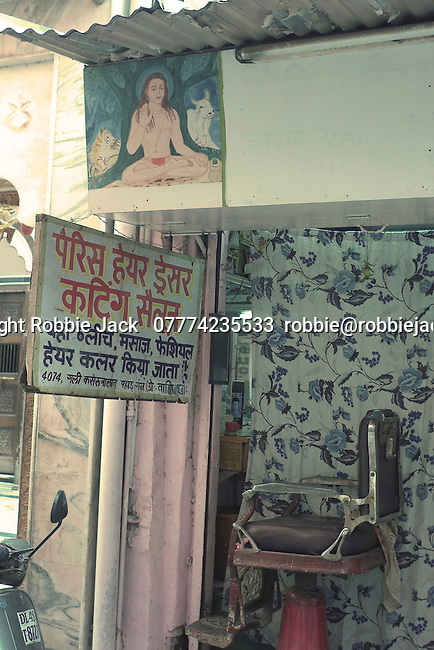 Barbers shop in the Paharganj district of New Delhi, India.