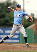 Starting pitcher Tim Melville (40) of the Wilmington Blue Rocks, Carolina League affiliate of the Kansas City Royals, in a game against the Lynchburg Hillcats on June 15, 2011, at City Stadium in Lynchburg, Va. (Tom Priddy/Four Seam Images)