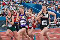 Eureka senior Hannah Long (#2) and Linn-Mar's Stephanie Jenks (#1) sprint off the line at the start of the girl's 1600-meters at the 2015 Kansas Relays.