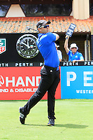 Daniel Nisbet (AUS) on the 1st tee during Round 1 of the ISPS HANDA Perth International at the Lake Karrinyup Country Club on Thursday 23rd October 2014.<br /> Picture:  Thos Caffrey / www.golffile.ie