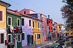 Painted houses, island of Burano, Venice Italy