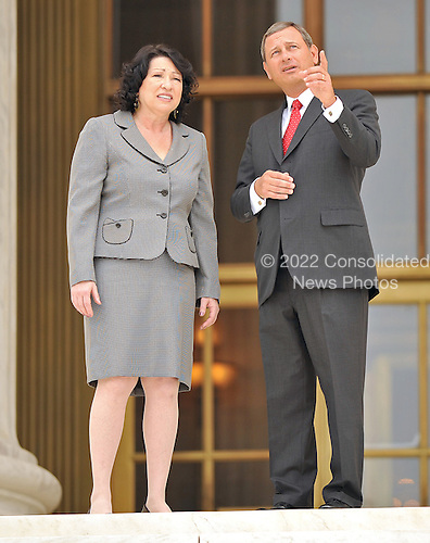 Washington, DC - September 8, 2009 -- Associate Supreme Court Justice Sonia Sotomayor and Chief Justice of the United States John G. Roberts, Jr. share some thoughts following the investiture ceremony in honor of Justice Sotomayor at the United States Supreme Court in Washington, D.C. on Tuesday, September 8, 2009..Credit: Ron Sachs / CNP