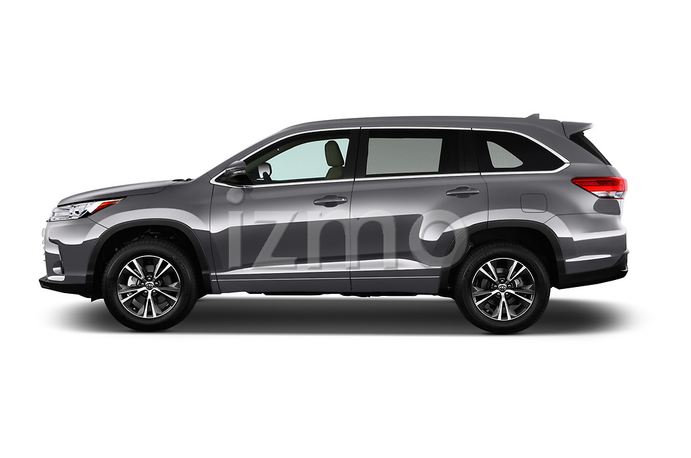 Car Driver side profile view of a 2017 Toyota Highlander LE-Plus 5 Door SUV Side View