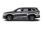 Car Driver side profile view of a 2018 Toyota Highlander LE-Plus 5 Door SUV Side View