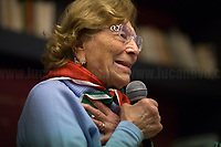 """Luciana Romoli (Antifascist Partizan. Member of the Partigiani: the Italian Resistance during WWII).<br /> <br /> Rome, 19/02/20. Today, ANPI Roma (National Association of Italian Partizans, Members of the WWII Italian Resistance) celebrated the 100th birthday of Partizan Iole Mancini holding a fully booked public event at the Casa della Memoria e della Storia di Roma (House of Memory and History of Rome). From the ANPI event page: «Iole, belonging to the Roman Resistance, was arrested during the days immediately before the liberation of Rome. She was interrogated and tortured by the SS (by Kappler himself) in Via Tasso prison, in an attempt to extort the place where her boyfriend Ernesto Borghesi was hiding, gappista (*), but without success. Fleeing the arrival of the Allies, the Germans loaded all the prisoners detained in the prison onto three trucks, but the truck on which Iole had been placed did not leave due to a breakdown. All the other prisoners were killed in La Storta. Today it is still with us, with her splendid 100 years, and we celebrate it with pride and gratitude».<br /> (*) The GAPs - Gruppi di Azione Patriottica (Patriotic Action Groups, https://bit.ly/2K3jCmJ) were famous because their members, called """"Gappisti"""", carried out acts of sabotage & guerrilla warfare against nazi-fascist troops in cities such as Rome, Milan, Genova, Bologna and others.<br /> <br /> Footnotes & Links:<br /> 1. http://bit.do/fwe8Z<br /> http://www.anpiroma.org<br /> Le Grandi Novantenni, Iole Mancini torturata dalle Ss: """"Quello che accade oggi mi fa paura"""" (Source, laStampa.it, ITA) http://bit.do/fwfbz<br /> 25 Aprile at Ferramonti concentration camp http://bit.do/fwfgf<br /> Bella Ciao Tina Costa: Homage to a Partizan http://bit.do/fwffV<br /> Mario Fiorentini:100th Birthday of a Partizan http://bit.do/fwfeP<br /> forza nuova (far-right) Rally - ANPI & Antifascists Counter Protest https://bit.ly/2qC4ZuE<br /> Centocelle: Gold Medal For Antifascist Resistance https://bit"""
