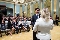 Justin Trudeau is sworn in as Canada's 23rd Prime Minister by Clerk of the Privy Council and Secretary to the Cabinet Janice Charette. November 4, 2015.