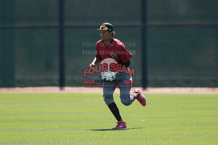 Arizona Diamondbacks right fielder David Sanchez (14) during a Minor League Spring Training game against the San Francisco Giants at Salt River Fields at Talking Stick on March 28, 2018 in Scottsdale, Arizona. (Zachary Lucy/Four Seam Images)