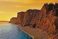 Cliffs along the Bay of Fundy at sunset<br /> Cape d' Or<br /> Nova Scotia<br /> Canada