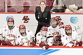 Ryan Little (BC - 20), Haley McLean (BC - 13), Katie Crowley (BC - Head Coach), Meghan Grieves (BC - 17), Tori Sullivan (BC - 9), Kristyn Capizzano (BC - 7) - The Boston College Eagles defeated the Northeastern University Huskies 5-1 (EN) in their NCAA Quarterfinal on Saturday, March 12, 2016, at Kelley Rink in Conte Forum in Boston, Massachusetts.