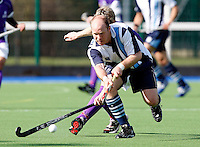 Peter Swainson sets up an attack for Hampstead during the England Hockey League Mens Semi-Final Cup game between Hampstead & Westminster and Sevenoaks at the Paddington Recreation Ground, Maida Vale on Sun March 21, 2010