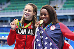 (L-R) Penelope Oleksiak (CAN), Simone Manuel (USA), <br /> AUGUST 11, 2016 - Swimming : <br /> Women's 100m Freestyle Medal Ceremony  <br /> at Olympic Aquatics Stadium <br /> during the Rio 2016 Olympic Games in Rio de Janeiro, Brazil. <br /> (Photo by Yohei Osada/AFLO SPORT)
