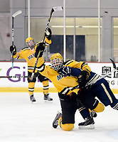 George Mason's Cameron Smith (left) and Shawn Ryan (right) celebrate after a second period falling down goal by Ryan. George Mason defeated George Washington 5-2 on 9-22-18.<br />