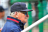 Atlanta Braves manager Bobby Cox (6) watches game action from behind a protective screen in the dugout against the Washington Nationals at Nationals Park in Washington, D.C. on Sunday, September 26, 2010.  This is Cox' last visit to Washington as manager of the Braves.  The Nationals won the game 4 - 2..Credit: Ron Sachs / CNP