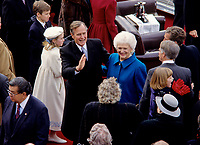 United States President George H.W. Bush and first lady Barbara Bush greet guests after he delivered his Inaugural Address following his being sworn-in as 41st President of the United States at the US Capitol on January 20, 1989. <br /> CAP/MPI/RS<br /> &copy;RS/MPI/Capital Pictures