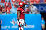 Nyheim Hines (7) of the North Carolina State Wolfpack waits to receive a kick during first half action against the South Carolina Gamecocks in the Belk College Kickoff at Bank of America Stadium on September 2, 2017 in Charlotte, North Carolina.  The Gamecocks defeated the Wolfpack 35-28.  (Brian Westerholt/Sports On Film)