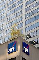 The AXA logo is pictured on a corporate office corner of avenue Maisonneuve and University avenue in Montreal November 3, 2008