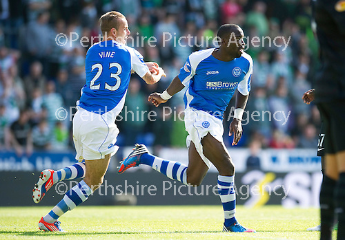 St Johnstone v Celtic....15.09.12      SPL  .Gregory Tade celebrates his goal with Rowan Vine.Picture by Graeme Hart..Copyright Perthshire Picture Agency.Tel: 01738 623350  Mobile: 07990 594431