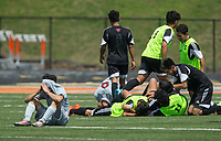 NWA Democrat-Gazette/BEN GOFF @NWABENGOFF<br /> Fort Smith Northside celebrates after defeating Springdale 2-1 Saturday, May 12, 2018 during the semifinal match in the boys 7A state soccer tournament in Gates Stadium at Rogers Heritage.