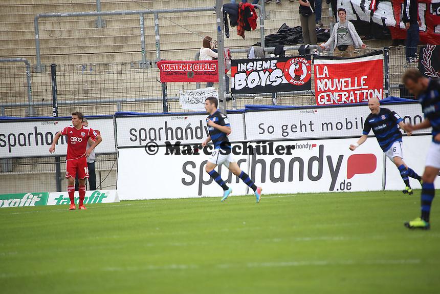 Torjubel FSV Frankfurt beim 1:0 durch Mathew Leckie - FSV Frankfurt vs. FC Ingolstadt, 8. Spieltag, Frankfurter Volksbank Stadion