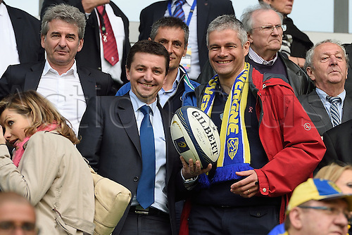 18.04.2015. Clermont-Ferrand, Auvergne, France. Champions Cup rugby semi-final between ASM Clermont and Saracens.    Gael Perdriau and laurent Wauquiez