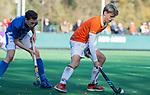 BLOEMENDAAL  - Roemer van der Veldt (Bldaal)  met Sybren Loman , competitiewedstrijd junioren  landelijk  Bloemendaal JB1-Kampong JB1 (4-3) . COPYRIGHT KOEN SUYK